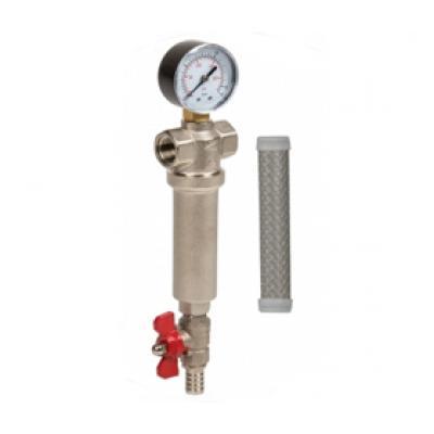 """Aquafilter mechanikai előszűrő RÉZ szűrőházban, nyomásmérővel, 100 mikron, 1"""""""